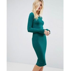 ASOS Green Frill Cuff Midi Rib Bodycon Dress